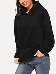 cheap -Women's Casual Hoodie - Solid Colored Black M