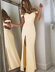 cheap -Sheath / Column Off Shoulder Floor Length Jersey Open Back Formal Evening Dress with Split Front 2020