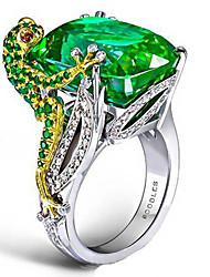 cheap -Women's Ring 1pc Green Imitation Diamond Alloy irregular Vintage Trendy Korean Daily Jewelry Vintage Style Lucky