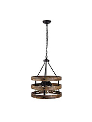 cheap -American Country Pendant Light Chandeliers 5 Lights with Adjustable Chain Lantern Chandelier Ambient Light Painted Finishes Wood