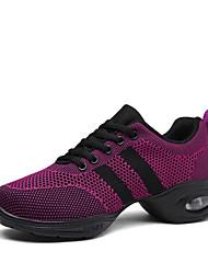 cheap -Women's Dance Shoes Knit Dance Sneakers Sneaker Thick Heel Customizable Black / Purple / Performance / Practice