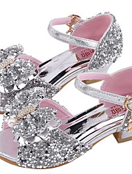cheap -Girls' Comfort Synthetics Sandals Little Kids(4-7ys) Rhinestone Pink / Silver Summer