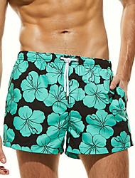 cheap -Men's Swim Shorts Swim Trunks Board Shorts Breathable Quick Dry Short Sleeve Drawstring - Swimming Diving Beach Painting Floral / Botanical Autumn / Fall Spring Summer / Micro-elastic