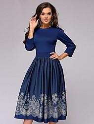 cheap -Women's Navy Blue Dress A Line Geometric S M