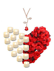 cheap -16 pcs Flameless Candle LED  Night Light / 1 set Artificial  Red Rose Petals / 1pc Rose Necklace for Valentine's Day / Wedding Anniversary