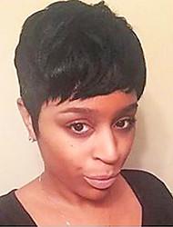 cheap -Human Hair Wig Short Straight Natural Straight Bob Pixie Cut Layered Haircut Asymmetrical Black Life Cool Comfortable Capless Women's All Natural Black 6 inch / Natural Hairline / Natural Hairline
