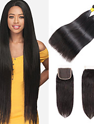 cheap -3 Bundles with Closure Brazilian Hair Straight Remy Human Hair 100% Remy Hair Weave Bundles Headpiece Natural Color Hair Weaves / Hair Bulk Bundle Hair 8-24 inch Natural Color Human Hair Weaves Odor