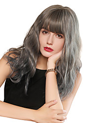 cheap -Synthetic Wig Bangs Curly Water Wave Neat Bang With Bangs Wig Long Grey Synthetic Hair 18 inch Women's Cosplay Women Synthetic Gray HAIR CUBE / Ombre Hair