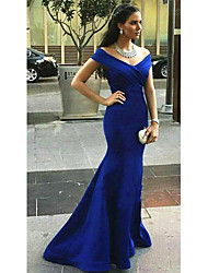 cheap -Mermaid / Trumpet V Neck Sweep / Brush Train Nylon Elegant / Minimalist Formal Evening Dress with Criss Cross / Ruched 2020