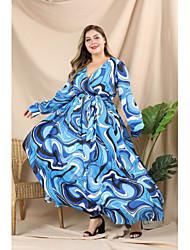 abordables -Femme Chic de Rue Elégant Maxi Trapèze Balançoire Robe - Plissé Lacet Imprimé, Géométrique Bloc de Couleur Bleu Bleu XL XXL XXXL Manches Longues