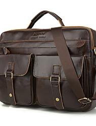 cheap -Men's Bags Cowhide Shoulder Messenger Bag Laptop Bag Briefcase Belt Zipper Solid Color Daily Outdoor Handbags Black Brown