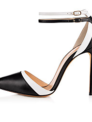 cheap -Women's Heels Stiletto Heel Pointed Toe Buckle Faux Leather Sweet / British Fall / Spring & Summer Black / Nude / Party & Evening / Color Block
