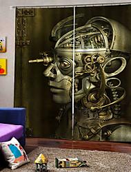 cheap -Home Decoration 3D Digital Printing Curtains  Robot Skull Halloween Theme Custom Rod Set Curtain