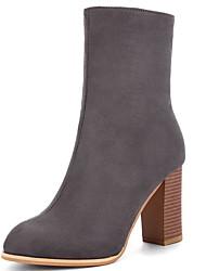 cheap -Women's Boots Chunky Heel Round Toe PU Mid-Calf Boots Summer Black / Brown / Gray