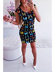 cheap -Women's Basic Sheath Dress - Animal Butterfly, Print Black S M L XL