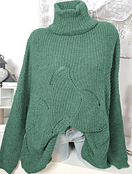 cheap -Women's Solid Colored Long Sleeve Pullover Sweater Jumper, High Neck Cotton White / Green / Gray S / M / L