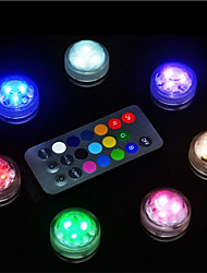 cheap -10PCS Waterproof Battery Operated RGB Submersible LED Night Light Underwater Night Lamp Tea Lights for Vase Bowls Aquarium and Party Wedding Decor (Contain Remote Controller / Contain Battery)