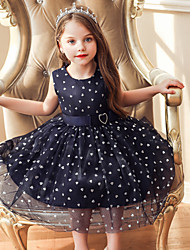 cheap -Baby Girls' Active / Street chic Solid Colored Sequins Sleeveless Knee-length Dress Black