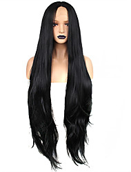 cheap -Synthetic Lace Front Wig Weave Wavy Kardashian Free Part Lace Front Wig Very Long Black#1B Synthetic Hair 32 inch Women's Odor Free Soft Adjustable Black / Heat Resistant / Heat Resistant