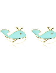 Недорогие -Маленькие серьги-гвоздики с эмалью для девочки из стерлингового серебра 925 пробы из синего кита, серебряные женские модные корейские украшения