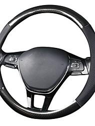 Недорогие -38см крышка рулевого колеса автомобиля 38см кожа углеродного волокна крышка рулевого колеса автомобиля черный чехол рулевого колеса автомобиля