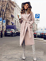cheap -Women's Daily Fall & Winter Long Coat, Solid Colored Turndown Long Sleeve Polyester Wine / Navy Blue / Light Blue