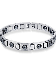 cheap -Men's Black Wide Bangle Retro Lucky Casual / Sporty Titanium Steel Bracelet Jewelry Silver / Black For Daily