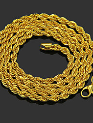cheap -Men's Chain Necklace Beaded Necklace Chains Braided Unique Design Fashion Gold Plated Chrome Gold 76 cm Necklace Jewelry 1pc For Daily