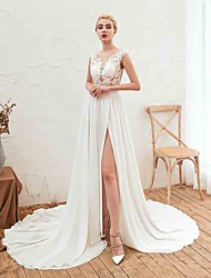 cheap -A-Line Jewel Neck Court Train Chiffon Cap Sleeve Made-To-Measure Wedding Dresses with Appliques / Split Front 2020