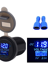 cheap -12/24V  Car Motorcycle Boat Universal Mobile Phone Charger Voltmeter 2 in 1 USB Phone Charger
