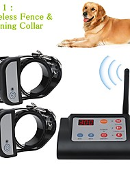 cheap -2 In 1 Wireless Electric Pet Dog Fence & Training Collar Dog Training Collars Waterproof Rechargeable Pet Containment System For Two Dogs