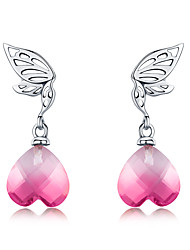 cheap -New Arrival 925 Sterling Silver Hope Wings Pink Crystal Heart Drop Earrings for Women Wedding Engagement Jewelry BS28E015