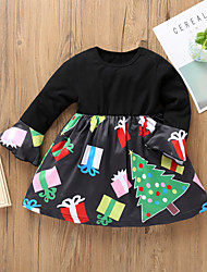 cheap -Kids Toddler Girls' Basic Street chic Santa Claus Geometric Animal Cartoon Patchwork Print Long Sleeve Above Knee Dress Black / Cotton