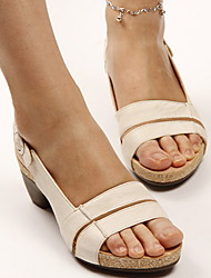 cheap -Women's Sandals Chunky Heel Peep Toe PU Summer Black / Brown / White