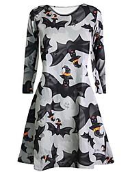 cheap -Halloween Women's A-Line Dress Long Sleeve Geometric Hot Halloween vacation dresses Black Purple Gray S M L XL XXL
