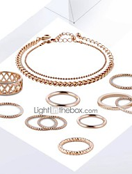 cheap -Women's Chain Bracelet Ring Ring Set Cut Out Stylish Unique Design Gold Plated Earrings Jewelry Gold For Daily Work 1 set