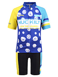cheap -Nuckily Boys' Short Sleeve Cycling Jersey with Shorts - Kid's Blue Bike Sports Spandex Patterned Clothing Apparel / Micro-elastic