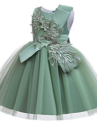 cheap -Kids Girls' Cute Butterfly Solid Colored Bow Mesh Embroidered Short Sleeve Knee-length Dress Wine