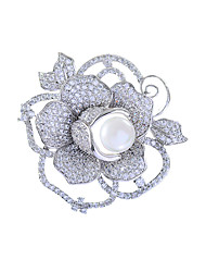 cheap -Women's AAA Cubic Zirconia Brooches Flower Stylish Simple Pearl Brooch Jewelry White / Sliver For Wedding Party Engagement Gift Work