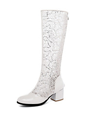 cheap -Women's Boots Knee High Boots Chunky Heel Round Toe Lace / Faux Leather Knee High Boots Classic / Minimalism Summer Light Blue / White / Beige / Wedding
