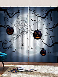 cheap -Luxury 3D Printing Spider Pumpkin Background Curtains High Quality Thickening Blackout Fabric Living Room Bedroom Curtain Ready Made