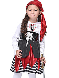 cheap -Pirates of the Caribbean Pirate Dress Cosplay Costume Halloween Props Kid's Girls' Cosplay Halloween Halloween Festival Halloween Children's Day Masquerade Festival / Holiday Fabric Polyster Red+Black