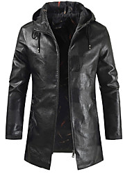cheap -Men's Daily Fall & Winter Regular Jacket, Solid Colored Hooded Long Sleeve PU Black