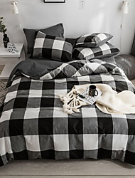 cheap -Duvet Cover Sets Plaid / Checkered Cotton Reactive Print 4 PieceBedding Sets
