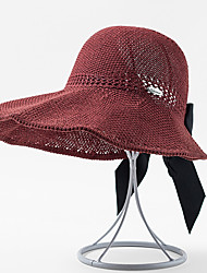 cheap -Women's Active Basic Cute Knitwear Straw Hat Sun Hat-Color Block All Seasons Black Wine Blushing Pink