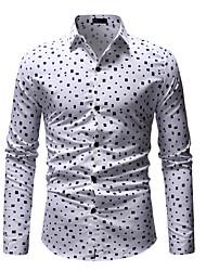 cheap -Men's Polka Dot Floral Print Shirt Business Basic Daily Work Wine / White / Long Sleeve