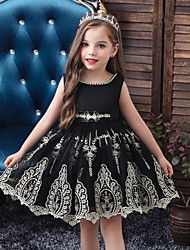 cheap -Kids Toddler Girls' Active Sweet Solid Colored Embroidered Sleeveless Knee-length Dress Black