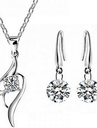 cheap -Women's Cubic Zirconia Bridal Jewelry Sets Classic Heart Fashion Earrings Jewelry Silver For Party Daily 1 set