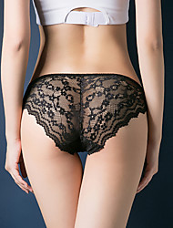 cheap -Women's Lace / Cut Out Briefs - Normal Low Waist Black Wine Blushing Pink One-Size
