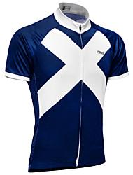 abordables -21Grams Homme Manches Courtes Maillot Velo Cyclisme Ciel bleu + blanc Écosse Drapeau National Cyclisme Hauts / Top VTT Vélo tout terrain Vélo Route Résistant aux UV Respirable Evacuation de l'humidité